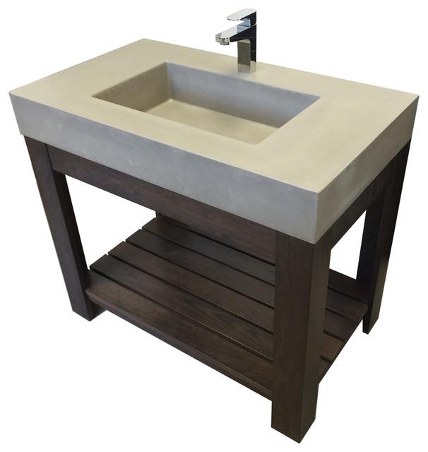 """Bathroom Vanity No Faucet Holes 36"""" lavare novo concrete vanity bathroom sink - contemporary"""