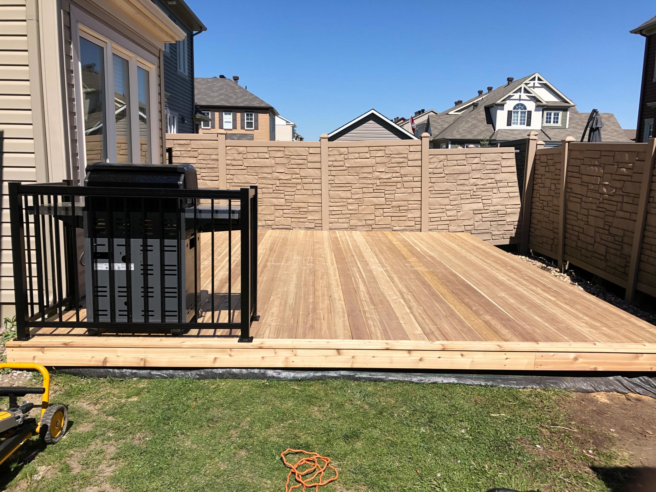 low level red cedar deck