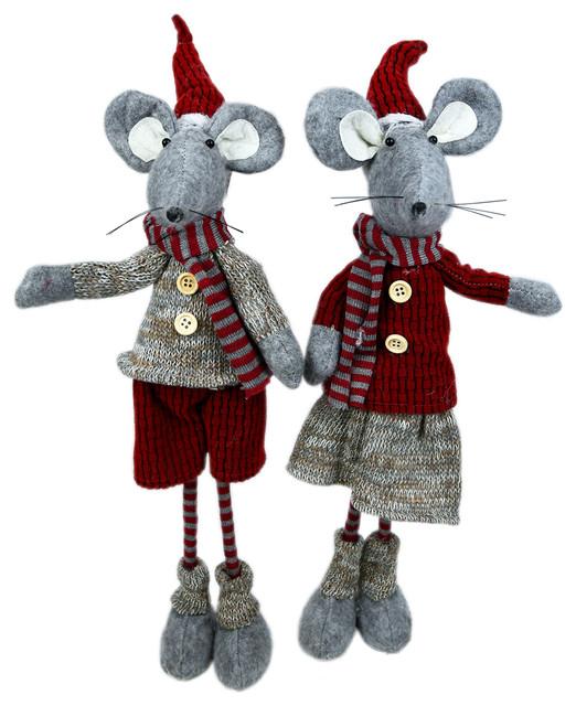 Boy and Girl Standing Holiday Mice Decor Set