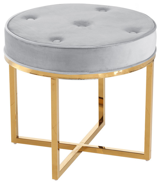 Superb Round Upholstered Tufted Accent Stool With Gold Base E31 Gray Pdpeps Interior Chair Design Pdpepsorg