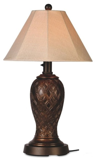 Monterey 34 Outdoor Table Lamp With Antique Beige Linen Sunbrella Shade