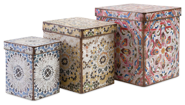 Modern and unique multi set of 3 victoria artsy boxes home decor