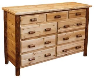 Rustic White Cedar Log 2-Tone 9-Drawer Dresser