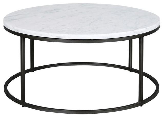 Palliser Furniture, Julien Round Cocktail Table, Black Base, White Marble  Top