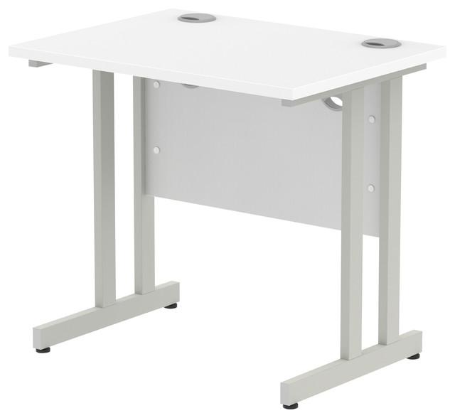 Impulse Silver Cantilever Base Desk, White, 80x60 cm