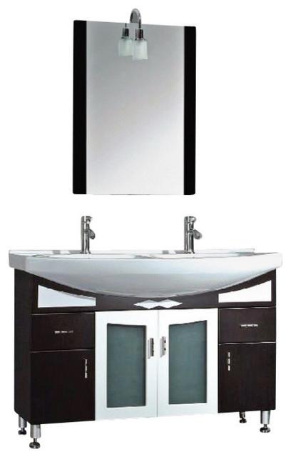 48 Black Cherry Wood Porcelain Double Bathroom Vanity Set Atchison Contemporary