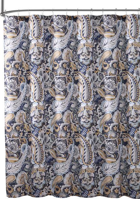 Elegant Navy Blue Beige Fabric Shower Curtain Large Floral Paisley Print Design