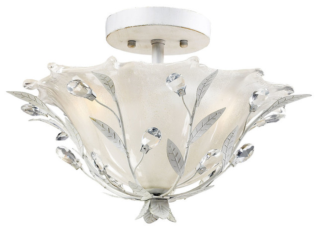 2-Light Semi-Flush, Antique White.