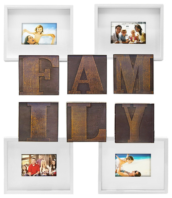 Family Theme 10 Piece Photo Frame And Wall Decor Bar Set Bronze