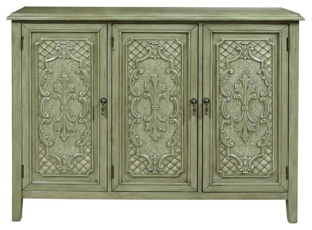 3-Door Console Table, Green Finish - Storage Cabinets - by ShopLadder