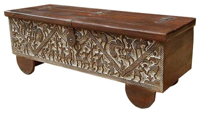Masterpiece Hand Carved Mango Wood Storage Trunk Coffee Table