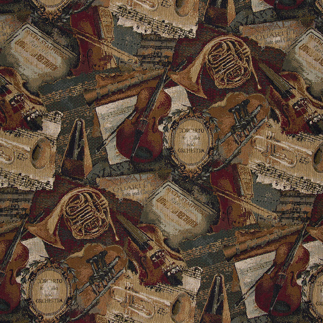 Orchestra Symphony Violins Trumpets Theme Tapestry Upholstery Fabric