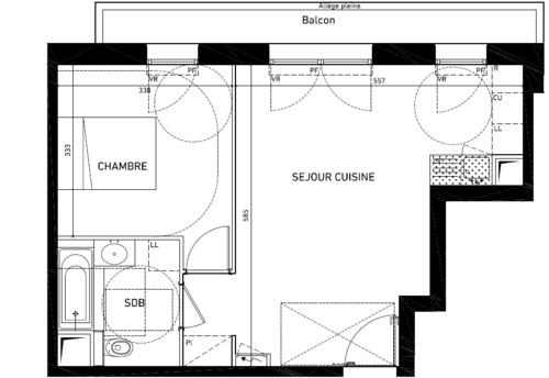 besoin de conseil am nager et meubler un t2 neuf de 44m sur plan. Black Bedroom Furniture Sets. Home Design Ideas