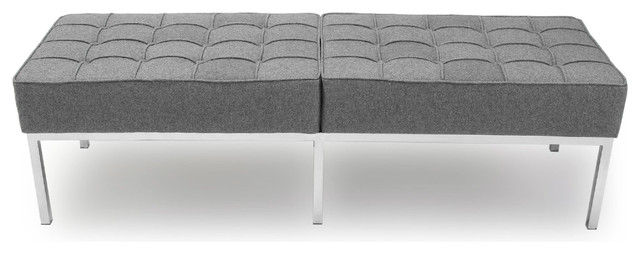 Midcentury Modern Florence 3-Seater Bench, Cadet Gray, Material: Wool. -1