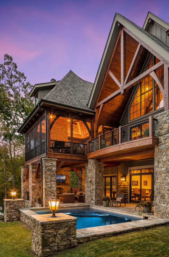 Example of a mountain style home design design in Other