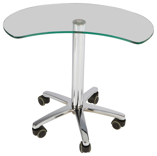 Adjustable Height Clear Glass Top Personal Work Station.