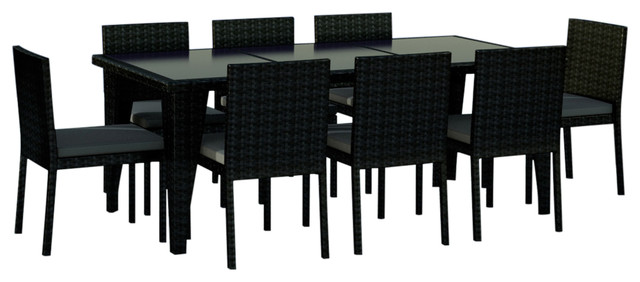 9 Piece Wicker Outdoor Patio Dining Set Black Charcoal