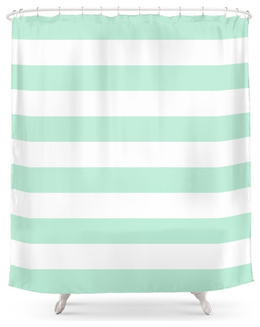 Society6 Society6 Stripe Horizontal Mint Green Shower Curtain Shower Curtai