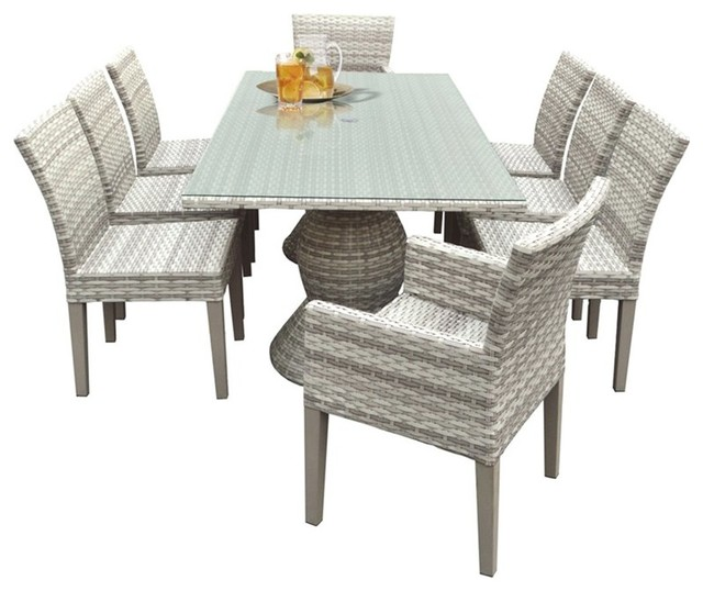 Fairmont 9-Piece 80 Glass Top Patio Dining Set, Without Cushions.