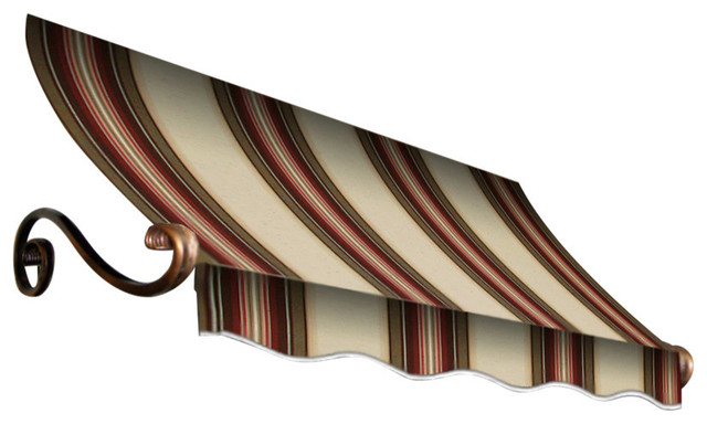 "8&x27; Charleston Window Awning, 31"" Hx36"" D, Brown And Terra Cotta"