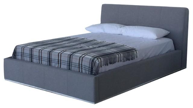 Reve Queen Bed Gray Fabric.