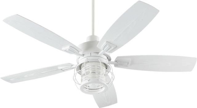 "Indoor Ceiling Fan 1-Light With Studio White Finish Medium Base, 52"", 14w."