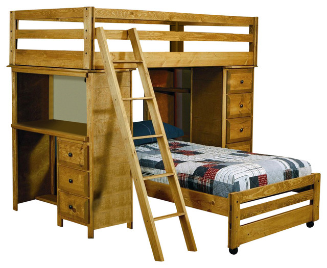 Coaster Wrangle Hill Twin Over Twin Loft Bed With Built In