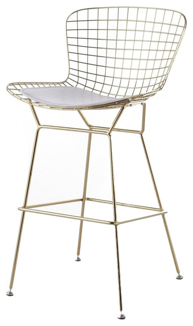 Wire Counter Stool, Gold Finish, White Seat Pad