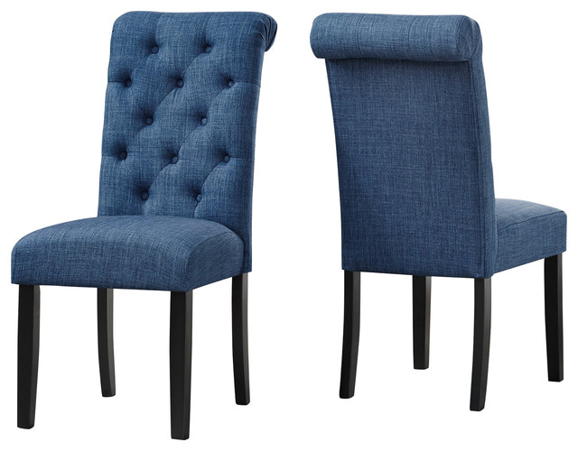 Brassex Soho Tufted Dining Chair, Set Of 2, Blue.