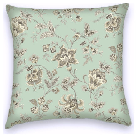 Light Green Decorative Pillow : Light Green Brown Contemporary Floral Decorative Throw Pillow Cover - Contemporary - Decorative ...