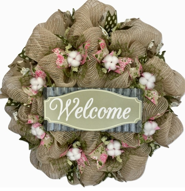 Southern Charm Cotton Blossoms With Magnolia Ribbons Handmade Deco Mesh Wreath.