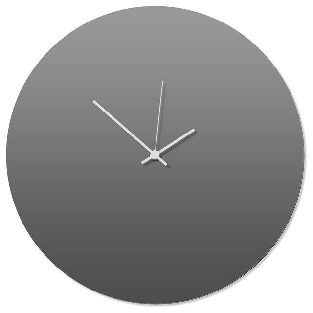 Contemporary Clock 'Grayout White Circle Clock' Artisan-Made Gray