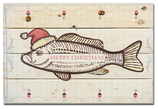 Merry Christmas Fish Wood Art Rustic Novelty Signs