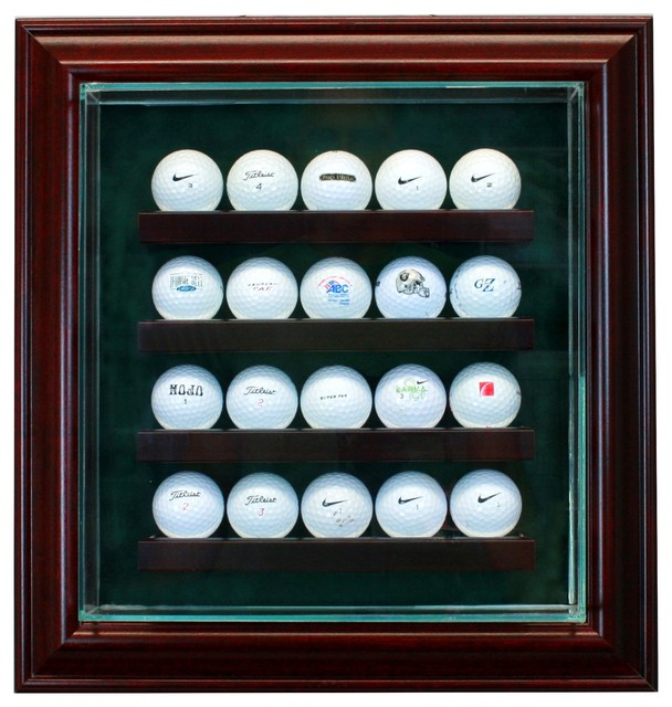 20 Golf Ball Cabinet Style Display Case, Cherry