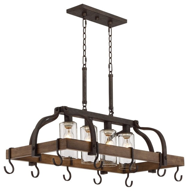 Industrial Style 4 Light Bronze Pot Rack Chandelier Kitchen Island