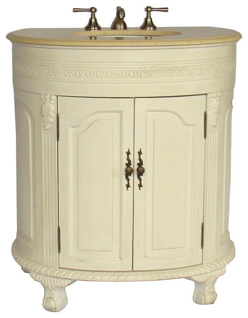 "32"" antique white versailles bathroom sink vanity cabinet"