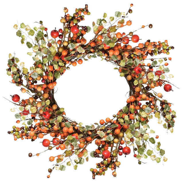 """22"""" Autumn Harvest and Green Berries With Leaves Wreath"""