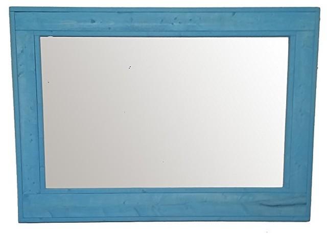 Aqua Herringbone Style Vanity Mirror, 30x24 by Renewed Decor and Storage