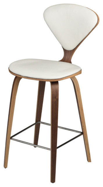 Satine Counter Stool With Upholstered Seat And Back Midcentury
