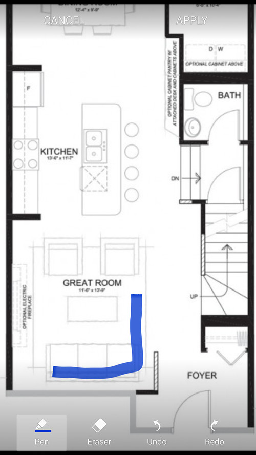 Placement of sectional couch in open concept main floor?