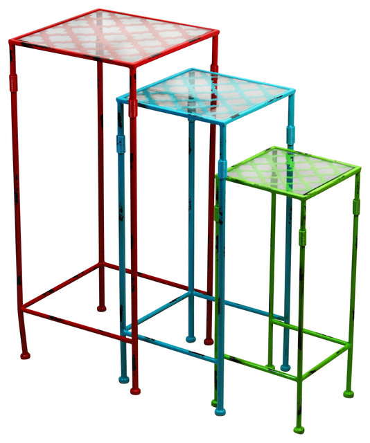 Quatrefoil Colorful Stacking Tables Set Of 3 Rustic Coffee Table Sets By Drew Derose Designs