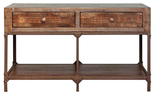 Industrial Style Rustic Solid Wood and Metal Sofa Table Console