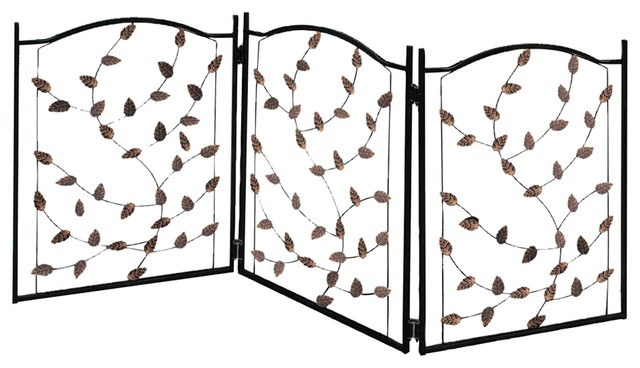 Pleasant Etna 3 Panel Metal Leaf Pet Gate Freestanding Dog Fence 53W X 23 5Tall Gmtry Best Dining Table And Chair Ideas Images Gmtryco
