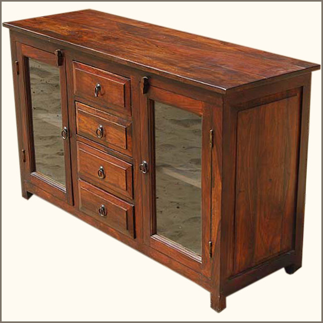 Rustic glass door buffet solid wood sideboard
