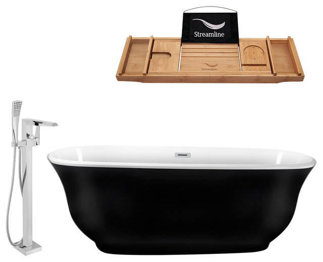 """70"""" Freestanding Black Tub, Faucet and Tray Set, Oval Shaped"""