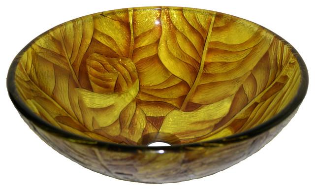 Golden Leaves Tempered Glass Vessel Sink.