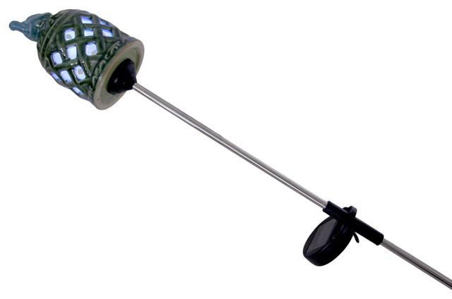 Ceramic Lattice Cut Solar LED Garden Stake Lantern