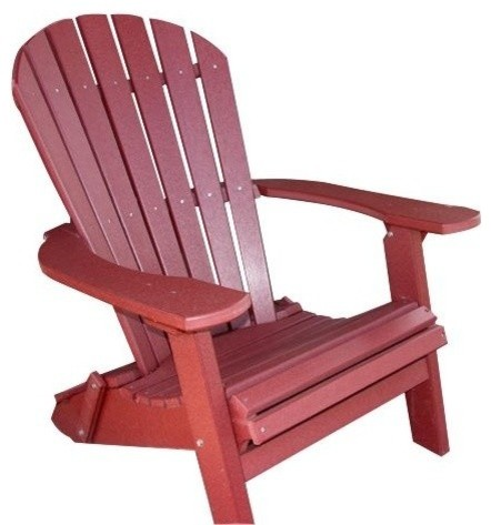 Phat Tommy Recycled Poly Resin Folding Deluxe Adirondack Chair Furniture, Merlot.