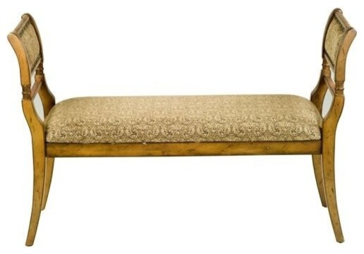 Safavieh Amh4022 Brody Birch Bench, Light Brown/paisley.