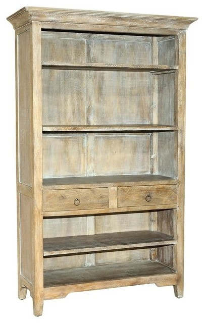 Wooden Bookcase in Rustic Gray Wash Finish